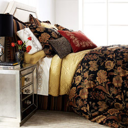 """Amity Home - Amity Home Quilted Tudor Standard Sham - Pile on the patterns and textures for layers of luxury. """"Julianna"""" bed linens by Charisma® feature spice-tone florals on black and coordinating woven stripes. All of polyester unless stated otherwise. Imported. Dry clean. Four-piece comforter sets..."""