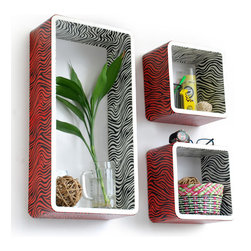 Blancho Bedding - [Vivid Zebra Stripe] Rectangle Leather Wall Shelf / Floating Shelf (Set of 3) - These rectangle wall cube shelves add a new and refreshing element to your room and can be easily combined with other pieces to create a customized wall space. You can hang them on the wall, or have them stand on table or floor, any way you like. Coming in various colors and sizes, they spice up your home's decor, add versatility, and create a whole new range of storage spaces. Perfect for wall mounting, these modern display floating shelves are sure to delight. Constructed from MDF with a top faux leather wrapping. Fashion forward design has never been so functional. This range of faux leather storage cubes is sure to delight! Easy to mount, easy to love! Attractive shelf boxes give any wall in your home a striking appearance. Arrange in whatever fashion you like - whether it be grouped together or displayed separately. Each box serves as a practical shelf, as well as a great wall decoration.