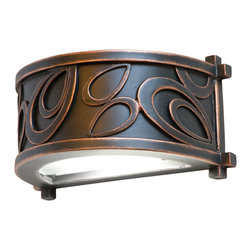 Kalco Lighting - Kalco Asiana 1-Light Led Sconce - Shown in Copper Claret finish. The loophole design of the Asiana Collection was inspired by the looping glaze work of Hamada Shoji's stoneware and is brought to life by Kalco's exclusive Antique Copper finish. Shoji's modern interpretation of Japanese pottery provides a casual yet stylish wall sconce. Overall size is 7.5 in. W x 4 in. D x 4 in. H.