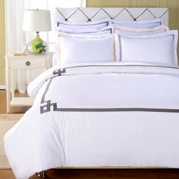 None - Miller 3-piece Duvet Cover Set - This comfortable cotton duvet cover features a button closure and is conveniently machine washable. The duvet cover and included shams both feature a gleaming white finish with a vibrant geometric print around the outside.