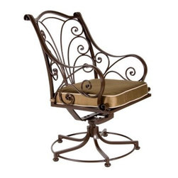 O.W. Lee Ashbury Swivel Rocker Aluminum Dining Chair - The O.W. Lee Ashbury Swivel Rocker Dining Chair will make your company's head spin, without hurting their necks. These eye-catching chairs will have your guests doing a double take at their stylish addition to any outdoor decor. The beautiful scrollwork offers a classic appeal that also possesses a fashion-forward individuality. This sensually curving metalwork is hand forged and hammered, bringing a uniquely masterful craftsmanship to these chairs. More than just visually pleasing, however, these chairs are equally designed for comfort. While the rocking and swiveling capabilities of these chairs make getting into and out of them a breeze, these features along with the comfortable arms and top-of-the-line foam and fiber filled seat cushion make these chairs so comfortable that your guests won't want to get up, encouraging them instead to sit back and enjoy the leisurely meal that you lovingly prepared.Materials and construction: Only the highest quality materials are used in the production of O.W. Lee Company's furniture. Carbon steel, galvanized steel, and 6061 alloy aluminum is meticulously chosen for superior strength as well as rust and corrosion resistance. All materials are individually measured and precision cut to ensure a smooth, and accurate fit. Steel and aluminum pieces are bent into perfect shapes, then hand-forged with a hammer and anvil, a process unchanged since blacksmiths in the middle ages. For the optimum strength of each piece, a full-circumference weld is applied wherever metal components intersect. This type of weld works to eliminate the possibility of moisture making its way into tube interiors or in a crevasse. The full-circumference weld guards against rust and corrosion. Finally, all welds are ground and sanded to create a seamless transition from one component to another. Each frame is blasted with tiny steel particles to remove dirt and oil from the manufacturing process, which is then followed by a 5-step wash and chemical treatment, resulting in the best possible surface for the final finish. A hand-applied zinc-rich epoxy primer is used to create a protective undercoat against oxidation. This prohibits rust from spreading and helps protect the final finish. Finally, a durable polyurethane top coating is hand-applied, and oven-cured to ensure a long lasting finish. About O.W. Lee Company An American family tradition, O.W. Lee Company has been dedicated to the design and production of fine, handcrafted casual furniture for over 60 years. From their manufacturing facility in Ontario, California, the O.W. Lee artisans combine centuries-old techniques with state-of-the-art equipment to produce beautiful casual furniture. What started in 1947 as a wrought-iron gate manufacturer for the luxurious estates of Southern California has evolved, three generations later, into a well-known and reputable manufacturer in the ever-growing casual furniture industry.
