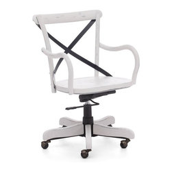 Zuo Modern - Zuo Union Square Office Chair in White - Union Square Office Chair in White by Zuo Modern Modeled after the most popular caf� chair in Europe, our versatile X-back office chair comes in natural, antique black, and antique white. Frame is solid wood with antique metal accents. Office Chair (1)