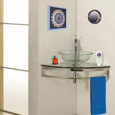 Modern Bathroom Vanities And Sink Consoles Wall-Mount Corner Glass Vanity