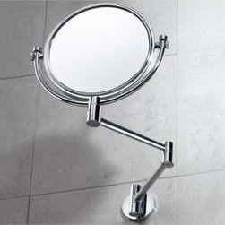 Gedy - Wall Double Sided Chrome 2x Magnifying Mirror - Unique, decorative wall mounted chrome 2x magnifying mirror. 2x magnification. Double sided (one side magnified, one side regular). Made out of chromed brass. From the Gedy Mirror Collection.