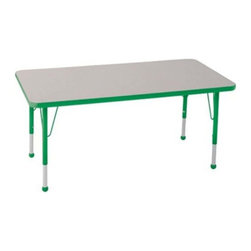 """Ecr4kids - Ecr4Kids Adjustable Activity Table Rectangular 30"""" X 48"""" Elr-14110-Ggn-Tb Green - Table tops feature stain-resistant and easy to clean laminate on both sides. Adjustable legs available in 3 different size ranges: Standard (19""""-30""""), Toddler (15""""-23""""), Chunky (15""""-24""""). Specify edge banding and leg color. Specify leg type."""