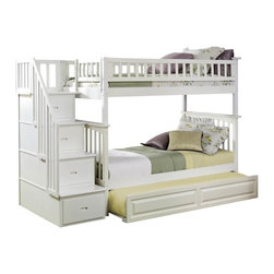 Atlantic Furniture - Columbia Staircase Bunk Bed Twin Over Twin / Raised Panel Trundle / White - The Columbia Staircase Bunk Bed Twin Over Twin with Raised Panel Trundle Bed in White has a built in modesty panel and can accommodate under bed storage drawers or a trundle. With its 26 steel reinforcement points and two 14 piece slat kits, this bed is as sturdy as they come. So many sleep options, and it creates tons of storage space in your child's room. Staircase drawers ship fully assembled with English dovetail construction and full extension ball bearing drawer glides.