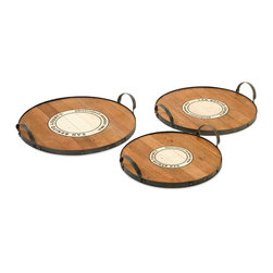 Benito Wood and Metal Trays Wine - Set of 3 - *This set of three Benito trays feature the Wine Growers Association emblem of San Benito county are made from recycled wood  come in a set of three sizes. This is a beautiful versatile set of trays that work for a variety of uses.