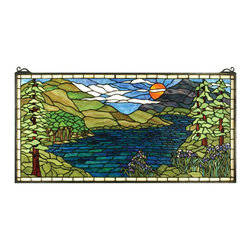 Meyda Tiffany - Meyda Tiffany Sunset Meadow Stained Glass Tiffany Window X-79456 - This landscape motif features a beautiful river wafting through the mountains at sunset, creating a versatile and classic look to this Meyda Tiffany stained glass Tiffany window. From the Sunset Meadow Collection, this beautiful design incorporates elegant shades of blue and green for a visually stunning effect.