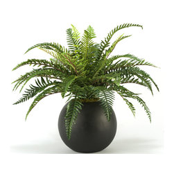 "D&W Silks - Artificial Fern in Resin Ball Planter - It's amazing how much adding a plant can change the look of a room or decor, but it can be difficult if your space is not conducive to growing plants, or if you weren't exactly born with a ""green thumb."" Invite the beauty of nature into your home without all the upkeep with this maintenance-free, allergy-free arrangement of an artificial fern in a resin ball planter. This is not a living plant."