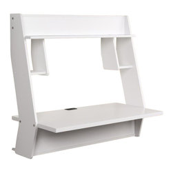 """Prepac - Prepac Studio 40x20 Floating Desk in White - The Studio Floating Desk's unique modern design provides a stylish workspace without taking up any of your floor space. This desk is perfectly suited for any home office, den, living room, kitchen, dorm room or kids bedroom. The stable 38.25"""" by 19.75"""" work surface provides great spot to place your computer, work on homework or read your favorite book.  The side compartments provide functional storage for books and media while the top shelf is ideal for photos or your favorite knick-knacks. Installation is a breeze with Prepac's innovative metal hanging rail system that supports the full weight of the desk plus an additional 80lbs. This desk is proudly manufactured in Canada using CARB-compliant, laminated composite wood. Ships ready-to-assemble, includes an instruction booklet for easy assembly and has a 5-year manufacturer's limited warranty. What's included: Desk (1)."""