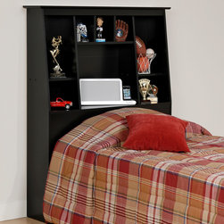 Prepac Slant-Back Tall Twin Bookcase Headboard in Black - This Slant-Back Tall Twin Bookcase Headboard in Black gives you the function of a bookcase, while saving space and creating a handsome focal point in any bedroom. The eight various shelves and cubbies provide space for display and storage. Constructed from high quality, laminated composite woods, with attractive profiled top and moldings.