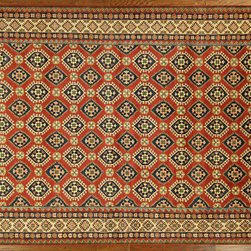 Manhattan Rugs - New Palace Size Red Kazak Hand Knotted Wool Oriental Area Rug H664 - Kazak (Kazakh, Kasak, Gazakh, Qazax). The most used spelling today is Qazax but rug people use Kazak so I generally do as well.The areas known as Kazakstan, Chechenya and Shirvan respectively are situated north of  Iran and Afghanistan and to the east of the Caspian sea and are all new Soviet republics.   These rugs are woven by settled Armenians as well as nomadic Kurds, Georgians, Azerbaijanis and Lurs.  Many of the people of Turkoman origin fled to Pakistan when the Russians invaded Afghanistan and most of the rugs are woven close to Peshawar on the Afghan-Pakistan border.There are many design influences and consequently a large variety of motifs of various medallions, diamonds, latch-hooked zig-zags and other geometric shapes.  However, it is the wonderful colours used with rich reds, blues, yellows and greens which make them stand out from other rugs.  The ability of the Caucasian weaver to use dramatic colours and patterns is unequalled in the rug weaving world.  Very hard-wearing rugs as well as being very collectable