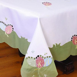 Xia Home Fashions - Easter Egg 60 Inch By 84 Inch Tablecloth - Colorful embroidered Easter eggs adorn this linens collection! These linens add a cheerful touch to you Easter family gatherings.