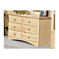 Chelsea Home - Wooden 6-Drawer Dresser - Rustic style. Solid ponderosa pine frame. Rounded edges for strong and safe youth furniture. Baltic birch plywood filler panels for smooth feel and finish. Centre mounted metal kenlin drawer glide system with solid pine fronts. Warranty: One year. Desert sand finish. Made in USA. No assembly required. 50 in. W x 17.5 in. D x 30 in. H (90 lbs.)
