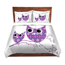 DiaNoche Designs - Duvet Cover Microfiber by Susie Kunzelman - Owl Argyle Purple - Super lightweight and extremely soft Premium Microfiber Duvet Cover in sizes Twin, Queen, King.  This duvet is designed to wash upon arrival for maximum softness.   Each duvet starts by looming the fabric and cutting to the size ordered.  The Image is printed and your Duvet Cover is meticulously sewn together with ties in each corner and a hidden zip closure.  All in the USA!!  Poly top with a Cotton Poly underside.  Dye Sublimation printing permanently adheres the ink to the material for long life and durability. Printed top, cream colored bottom, Machine Washable, Product may vary slightly from image.