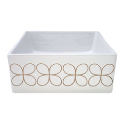 """Platinum Cloverleaf  Hand Painted Vessel Sink - Cloverleaf design painted sink in metallic platinum on a 16"""" square white vessel sink. Also available in gold. By decoratedbathroom.com."""