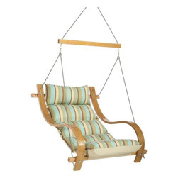 Hatteras Hammocks - Single Swing with Oak Arms - Spring Bay Stripe - Serenity now! The sound of slowing, peaceful water is a balm to the spirits, just as this pleasing fabric pattern is a soothing sight for stressed-out eyes. Dive in, for a quieting swim of the senses. With its bountiful cushions, handsome construction and cottony-soft fabric of soft seaside hues, this superb piece of backyard abandon will have you swinging unabashedly straight into bliss.