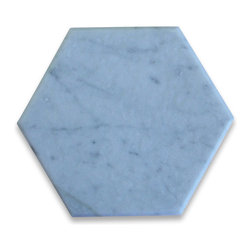 "Stone Center Corp - Carrara Marble Hexagon Tile 6 inch Tumbled - Carrara white marble 6"" (from point to point) hexagon tile"