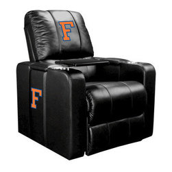 Dreamseat Inc. - University of Florida NCAA Block F Home Theater Plus Leather Recliner - Check out this Awesome Leather Recliner. Quite simply, it's one of the coolest things we've ever seen. This is unbelievably comfortable - once you're in it, you won't want to get up. Features a zip-in-zip-out logo panel embroidered with 70,000 stitches. Converts from a solid color to custom-logo furniture in seconds - perfect for a shared or multi-purpose room. Root for several teams? Simply swap the panels out when the seasons change. This is a true statement piece that is perfect for your Man Cave, Game Room, basement or garage. It combines contemporary design with the ultimate comfort from a fully reclining frame with lumbar and full leg support.