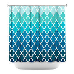 DiaNoche Designs - Shower Curtain Artistic - Aqua Ombre Quatrefoil - DiaNoche Designs works with artists from around the world to bring unique, artistic products to decorate all aspects of your home.  Our designer Shower Curtains will be the talk of every guest to visit your bathroom!  Our Shower Curtains have Sewn reinforced holes for curtain rings, Shower Curtain Rings Not Included.  Dye Sublimation printing adheres the ink to the material for long life and durability. Machine Wash upon arrival for maximum softness. Made in USA.  Shower Curtain Rings Not Included.