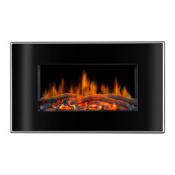Valencia - Lofty Valencia Wall Mount Electric Fireplace - This slender wall mount fireplace unit extends just six inches from the wall and installs in minutes,creating the cozy ambiance of a traditional fireplace without the inconvenience and expense.