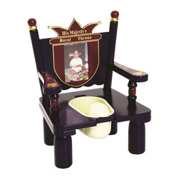 "Levels of Discovery - His Majesty's Throne Potty Chair - Crown backrest with special message: His Majesty's Throne 4"" x 6"" photo frame to make it her own Removable plastic container easily lifts off seat for easy clean up  Includes a removable deflector Insert can be replaced with wooden lid for use as a regular chairCrown backrest. Photo frame. Removable plastic container. Wooden lid for use as chair. All products have instructions included for assembly"