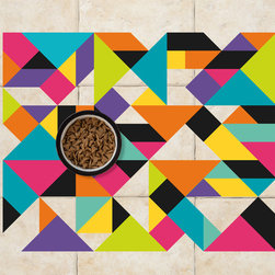 Sniff It Out Designer Pet Mats - MidCentury Triangle Pet Food Mat, 26 X 20.5 - Premium-quality clear vinyl mats uniquely designed to resemble beautiful art painted directly onto your floor. The smoothness of the vinyl allows for easy cleanup and lays perfectly flat. Sniff It Out Pet Mats make great gifts and will be a conversation piece that your friends and family won't stop talking about. Made in the USA.