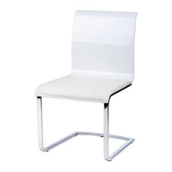 "Whiteline Imports - Lizz Dining Chair (Set of 2) - Features: -Set includes 2 chairs. -Upholstery: Faux leather. -Chrome frame. -Contemporary style. Dimensions: -36"" H x 24"" W x 20"" D, 64 lbs."