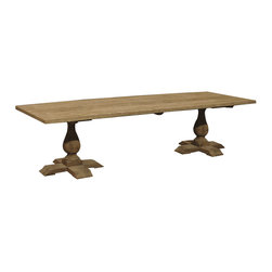 Kathy Kuo Home - Toulouse French Country Reclaimed Elm Double Pedestal Coffee Table - This coffee table suits your taste for French country style with fresh, modern flair. A pair of pedestals form the base for a simple plank surface — the ideal piece for your decor, where predictability just won't do.
