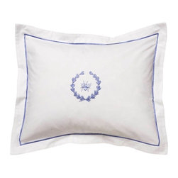 Jacaranda Living - Boudoir Pillow Cover, Blue Bee Wreath - Crisp, clean, understated. Get that luxurious fine hotel look in your bedroom with this boudoir pillow. It's the finishing touches that count.