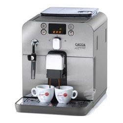 Gaggia Brera 59100 Super-Automatic Espresso Machine - Create all your favorite coffeehouse drinks at home with the Gaggia Brera 59100 Super-Automatic Espresso Machine. Featuring a durable stainless steel front panel and compact design, this espresso machine offers convenient front access to the coffee bean hopper, grounds disposal, water tank, and drip tray. The handy built-in water filter removes impurities and reduces scale build-up. Because the entire grinding, dosing, and extraction process is fully automated, this espresso machine couldn't be easier to use.Additional Features:2-liter water tankDurable ceramic grinder provides optimal grind fineness and consistencyIntuitive, user-friendly interface with push-button controls and digital displayColor-coded icons for quick, easy grinding, brewing, and steaming functionsFlexible steam wand swivels to froth milk and dispense hot waterControl espresso strength using Optidose technology250-gram airtight, UV-proof coffee bean containerProgrammed to notify you when care is requiredMonitors and modifies grind time, adjusting to the coffee quantity you selectPre-infusion feature ensures maximum flavor and aroma extractionBypass doser allows you to add pre-ground or decaf coffee when you wantWipe clean and decalcify regularlyWeight: 18 lbs.About GaggiaGaggia is the number-one selling home espresso machine manufacturer in Italy. Achille Gaggia, known as the founder of the modern espresso machine, founded the company in 1947. His innovative design eliminated steam from the extraction process and gave us the thick, crema-topped espresso that's so popular today. In 1977, the Gaggia company began producing machines for home use, and since that time, they have been at the forefront of development and innovation in the industry. Gaggia espresso machines combine Old World, classic styling with cutting-edge technology to bring you feature-packed machines that are easy to use and look fantastic in your kitchen. Enjoy espresso in the true Italian style with Gaggia.