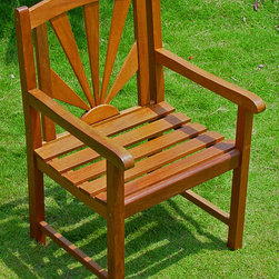 International Caravan - Sapporo Patio Chairs - Set of 2 - Set of 2. All weather resistant. UV light fading protection. Deep seating and arm rests for maximum comfort. Perfect standard size patio chair. Made from premum acacia hardwood. Stain finish. 23 in. L x 23 in. W x 36 in. H (22 lbs.)The Palmdale Sapporo chair is a national best seller.