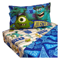 Jay Franco and Sons - Monsters U Twin Sheet Set 3pc Scare Pennant Bed Accessories - FEATURES: