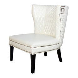 Quilted Ivory White Leather Club Chair
