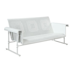 Crosley Furniture - Veranda Sofa Glider in Alabaster White - Sturdy Steel Construction. Easy To Assemble. UV Resistant. Smooth glide rocking mechanism. Indoor/Outdoor Construction. . 31 in. W x 72 in. D x 33 in. H (108 lbs.)