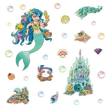 """FunToSee - Mermaid Girls Nursery and Bedroom Wall Decals - Brighten a room with these wonderful peel and stick room decorations. Transform one or two walls in minutes. Each pack contains 2 beautifully illustrated, pre-cut sheets of splash-proof, vinyl decals. Peel and position each decal wherever you like to create fun feature walls. Peel-stick-decorate. Update the look whenever you like - quickly, easily and without making any mess. Easy to apply, cleanly removable and changeable. Simply peel each pre-cut decal and apply to a clean, dry surface - walls, doors, furniture, bathrooms and more. No tack, tape, pins or paint required. Thanks to a unique adhesive, the images can be moved from place to place without damaging walls or furniture. So, when you're ready for a new look, just peel off wall stickers and refresh with a new FunToSee theme. Ideal for home, school, creche, hospital, kids' clubs and more. It's so easy...Peel each decal from the set and swim in the enchanted waters of Lana the Mermaid and her underwater friends with stunning, changeable wall decorations. Create a magical scene with Lana, her underwater palace, colorful coral, glistening fish and shimmering shells. Pack includes Lana, the Mermaid (17.3""""). Underwater Palace (13.8""""). Coral Reef (5.3""""). Precious Pearl (5""""). School of Fish (8.2""""). 15 Glassy bubbles and 6 Colorful Shells."""