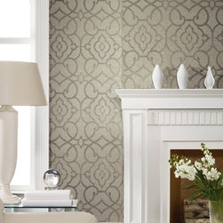 York Wallcoverings   Candice Olson Shimmering Details Grillwork Mica Wallpaper -