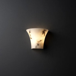 """Justice Design Group - Justice Design Group FAL-8810 Alabaster Stone / Glass Wall Washer Sconce - LumenAria Collection Faux Alabaster Small Round Flared Wall SconceUL: Damp LocationsExtends: 5"""", 3"""" Mounting CenterLamping Options:Standard: 2-40w Max Torpedo Type BA-9(Bulbs Not Included)"""