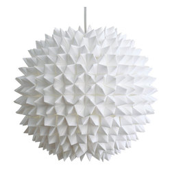 Zipper 8 Lighting - Small Dakota Pendant Light, Shade and Cord - The Small Dakota Pendant is a wonderful statement piece for any smaller space you might have. A bright white when unlit, the lamp glows warmly when turned on, creating a lovely soft glow. The pendant is created from hundreds of individual origami pieces attached around a central shade to keep them a safe distance from the bulb.