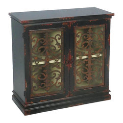 Sterling Lighting - Country Estate Cabinet - Two shelves. Two doors. Made from MDF and metal. 32.25 in. W x 12 in. D x 30.25 in. H (41 lbs.)