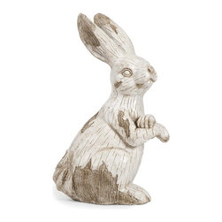 iMax - Singleton Garden Bunny - This happy, hoppy friend is perfect for adding character inside or out! with the look of aged, carved, white washed wood, this cotton tailed character works great as a door stop, a garden decoration, or a decorative room accent in an enclosed patio.