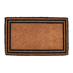 Entryways - The one with the Border Hand Woven Extra Thick Coconut Fiber Doormat - Designed by an artist, this distinctive mat is a work of art that will add a welcoming touch to any home. It is from Entryways' handmade collection and meets the industry's highest standards. This decorative mat is handsomely hand woven and hand stenciled.