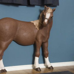 3D wall art Flaxen Chestnut Pony - The perfect accessory for the complete theme room, children of all ages will love having their own pony. Utilizing a cutting-edge foam based material used in Hollywood sets, this 3D wall art is eye-catching, easy to assemble and lightweight, while adding instant flair to any room. Fun and unique, this horse can be just what your little cowboy or cowgirl needs to ride the range. And little princes and princesses will love having their room transformed into a magical kingdom where imaginary pony rides take place.