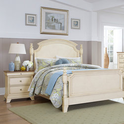 Homelegance - Homelegance Inglewood II 2 Piece Poster Bedroom Set in Antique White - Sophistication merges with elegant lines and classic shapes in the Inglewood II Collection. The boldly designed lines of the traditional breakfront posts of the panel bed lend an air of casual elegance. Wood and metal drawer pulls accent the traditional case pieces. Inglewood II Collection is presented in an antique white finish with cherry finish case goods' top. - 1402KW-PPB-2-SET.  Product features: Elegant lines and classic shapes ; Boldly designed lines of the traditional breakfront posts ; Four Poster Panel Bed; Antique White finish; Available in California King, Eastern King and Queen sizes. Product includes: Poster Bed (1); Nightstand (1). 2 Piece Poster Bedroom Set in Antique White belongs to Inglewood II Collection by Homelegance.