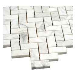 All Marble Tiles - Bianco Carrara Polished Marble Herringbone Mosaic Tile - The Bianco Carrara collection or white Carrara Collection allows you to play with colors for your interior. Besides getting a lovely option of pure white on tile, this collection also features a white grey hue to try. With these two colors you can create a modern or classic looking theme in your home according to preference.
