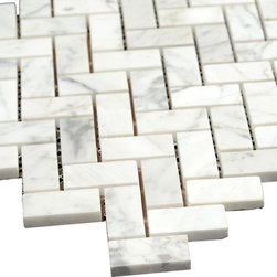 All Marble Tiles - Bianco Carrara 3/4 x 2 Polished Marble Herringbone Mosaic Tile - The Bianco Carrara collection or white Carrara Collection allows you to play with colors for your interior. Besides getting a lovely option of pure white on tile, this collection also features a white grey hue to try. With these two colors you can create a modern or classic looking theme in your home according to preference.