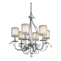 KICHLER - KICHLER Jardine Transitional Chandelier X-HC20324 - The Kichler Lighting Jardine Transitional chandelier features a spectacularly detailed, sophisticated design. Covered in a chrome finish, this alluring and remarkable steel frame provides classic elegance and refined beauty. The shear metallic hardback shades offer a soft, warm glow coming within the opal glass diffusers.