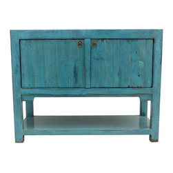 Lily Turquoise 2 Door Tall Sideboard with Bottom Shelf - Our collection of sideboards are built of beautiful elm wood reclaimed from buildings and furniture pieces that graced the eclectic Qing dynasty. Each piece is meticulously hand built and finished by time-honored craftsman utilizing over 120 different processes. A gorgeous addition to your dining room, stunning under your flat panel television, or the focal point of the master suite.
