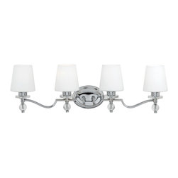 Quoizel - Quoizel HS8604C Hollister 4 Light Bathroom Vanity Lights in Polished Chrome - Long Description: If you enjoy classic style with a contemporary edge, this design will appeal to both aesthetics. The clear glass accents and chrome-finished metal complement the pure white glass shades perfectly. It will illuminate your bath with style and quality.