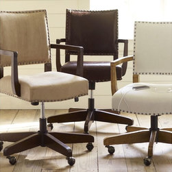 Manchester Swivel Desk Chair - A little more elegant than a traditional office chair and more functional than a dining chair, this rolling swivel chair is the best of both worlds.